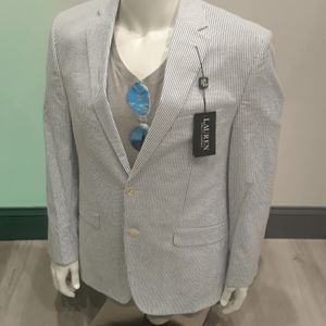 Ralph Lauren seersucker blue white jacket Blazer